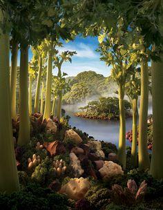 Celery Island Portrait - Creative Foodscapes by Carl Warner Carl Warner, Chakra Art, Food Sculpture, Surreal Photos, Edible Art, Oeuvre D'art, Landscape Art, Unique Art, Digital Illustration