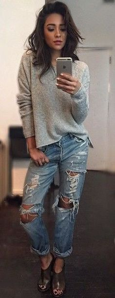 #popular #shay #mitchell #outfits |  Grey Sweater + Ripped Denim