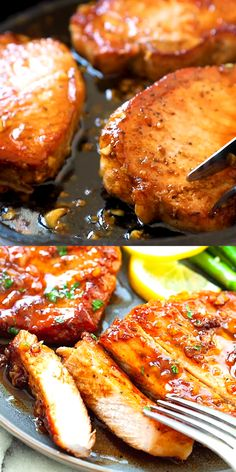 Honey Garlic Pork Chops , Honey Garlic Pork Chops with sticky honey garlic sauce, all done in less than 15 minutes. This boneless pork chops recipe is so easy to make. Easy Pork Chop Recipes, Easy Pasta Recipes, Easy Chicken Recipes, Meat Recipes, Easy Dinner Recipes, Cooking Recipes, Boneless Pork Loin Recipes, Boneless Porkchop Recipes, Crockpot Boneless Pork Chops