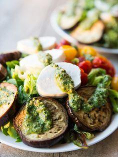 Roasted Eggplant and Burst Tomato Mozzarella Pesto Salad with Easy Dijon Vinaigrette // @veggiebeastblog