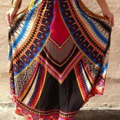 Multicolor Geo Print Drawstring Waist Maxi Skirt