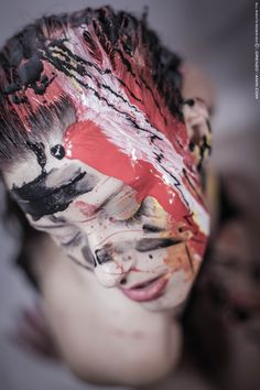 #Splattered #BodyPaint Hot & Cold Colors on face #PhotoShoot in Studio Black dark background by #LSVstudio