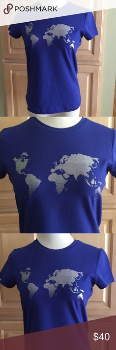 Super cute tee shirt w/metallic map of the world💙 A true one of a kind piece!!!! Gorgeous blue color with silver metallic map on the front. 100% cotton and machine washable. Sized as a medium but cut to fit a small. NWOT. Never worn!! Super cute 💞💕 Banana Republic Tops Tees - Short Sleeve