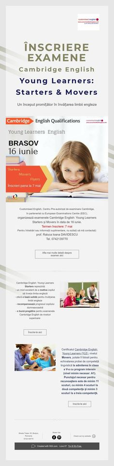 ÎNSCRIERE EXAMENE Cambridge English- Young Learners: Starters & Movers