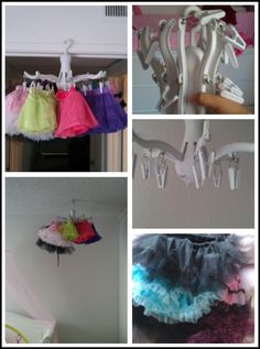 So bought this laundry dryer hanger at IKEA for $4.99 and I put all of Eliana's Tutus on the hanger and hung it in her room beside her crib and it looks awesome!!!!