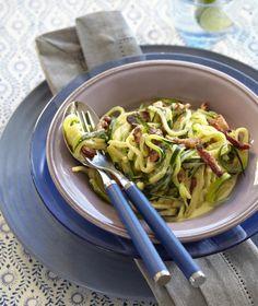 lavkarbo, middag, sunt, squash, spaghetti, carbonara, sunt, måltid, smaksrikt, nytelse,