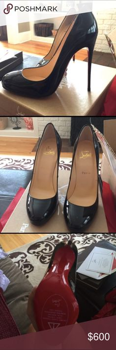 Christian Louboutin shoes NWT gorgeous heels. Never worn. Style: fifif color: patent black Christian Louboutin Shoes Heels