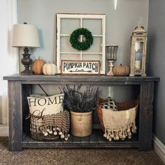 Rustic decor for a table in the foyer.