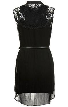 Black Contrast Lace Shoulder Belt Pleated Dress