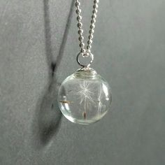 Dandelion wish necklace glass globe bubble bauble dream inspire