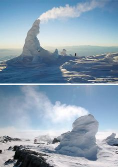 Ice Towers of Mount Erebus (Antarctica)  Mt. Erebus is one of the largest active volcanoes on Earth. It reaches nearly 4 km above sea level, and is renowned in volcanological circles for its persistently active lava lake, which is sited in the summit crater. The hot volcanic gas steaming from Erebus does more than fuel for the lava lake. Hot gasses traveling up through cracks and fractures in the volcanic rocks surrounding the Erebus summit have created an intricate system of ice caves all…