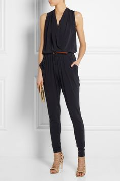 MICHAEL Michael Kors|Wrap-front stretch-jersey jumpsuit|Aquazzura | Amazon lace-up leather sandals | Marc by Marc Jacobs | Raveheart metallic leather clutch |