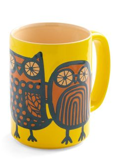 Owl Ready to Go Mug in Yellow...their eyes look like mine in the morning before my coffee fix.