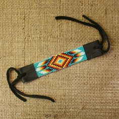RETURNING MOON Seed Bead Southwestern Native American Style Loom Bracelet -