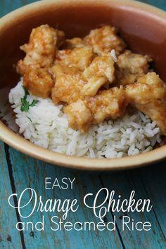 Easy Orange Chicken & Steamed Rice {Instant Pot}.