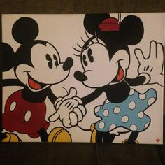 Vintage Mickey and MInnie Mouse Acrylic by GalvanizedStudio