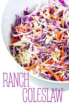 This ranch coleslaw is the perfect side dish for those summer time BBQs. Switching up that classic coleslaw flavor with some ranch will please everyone's taste buds. Side Salad Recipes, Side Dish Recipes, Coleslaw Recipes, Cabbage Salad Recipes, Dishes Recipes, Recipies, Healthy Side Dishes, Side Dishes Easy, Main Dishes
