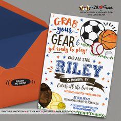 Sports Birthday invitations All Star Sports Birthday invitations Printable Watercolors birthday invitations Sports Invite