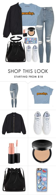 """Untitled #1633"" by mihai-theodora ❤ liked on Polyvore featuring Topshop, Monki, adidas, MAC Cosmetics, Bare Escentuals, Mansur Gavriel, Zero Gravity and Miss Selfridge"