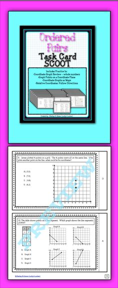 $Your students will love getting out of their seats, moving and having fun while reviewing or practicing with this Ordered Pairs Scoot game.  This set includes 24 Scoot cards which focus on coordinate graphs with whole numbers, graph points on a coordinate plane, coordinate graphs as maps and relative coordinates (follow directions). Also perfect for centers or small groups.$
