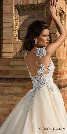 crystal design 2017 bridal sleeveless sheer jewel sweetheart neckline heavily embellished bodice lace elegant fit and flare wedding dress a  line overskirt sheer back sweep train (martina) zbv