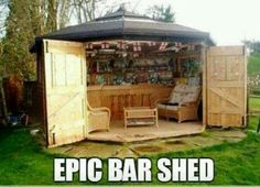Turn a garden shed into a bar or any kind of room