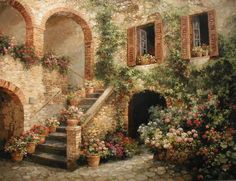Risultati immagini per Paul Guy Gantner Landscape Art, Landscape Paintings, Watercolor Paintings, Floral Paintings, Pintura Colonial, Country Cottage Garden, Garden Painting, Pictures To Paint, Vintage Pictures