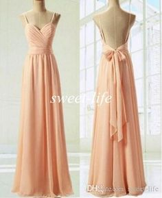 2016 Cheap Peach Bridesmaid Dresses Sexy Spaghetti Straps Sash Chiffon Floor Length Backless Wedding Party Maid of Honor Dress Evening Gowns Online with $70.5/Piece on Sweet-life's Store | DHgate.com