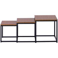 Beistelltisch-Set, 3 Stš¹ck Nachttische, Satztische 3 Gr??en£¬ Couchtische, mit Metallbeinen, einfacher Aufbau, Industrie-Design, vintagebraun-schwarz