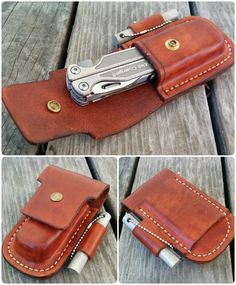 Leather case I made for Leatherman Charge Titanium TTi Multitool. MXS 8 oz veg tanned leather, hand stitched, belt slot for horizontal carry