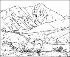 mountain meadow in a coloring page mountain printable coloring - Mountain Coloring Pages Printable