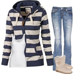I would love to wear this. I have an obsession with hoodie and jeans