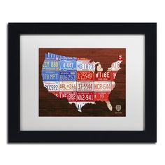 USA Flag Map by Design Turnpike Framed Graphic Art