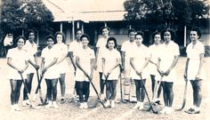 A typical Jamaican female school girl's Hockey Team in 1945 close to the spot where Canadian soldier Tom Forsyth was warned off watching girl's hockey practice. John Blair's niece, Barbara Johnson, is 2nd from left in this photo. (Author).