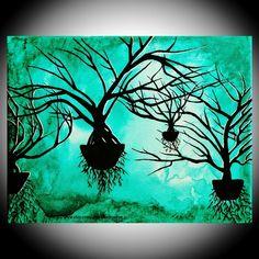 """ORIGINAL Painting Floating Tree World 8"""" x 10"""" Acrylic on Canvas Amber Elizabeth $25.00"""