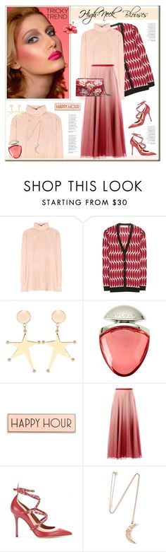 """High-Neck Blouse"" by anne-irene ❤ liked on Polyvore featuring Alexander McQueen, Marni, Bulgari, Rosanna, RED Valentino, Valentino, BROOKE GREGSON, Gucci, women's clothing and women"