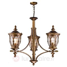 Suspension d'extérieur à 3 lampes Rua Augusta | Luminaire.fr Rue, Chandelier, Ceiling Lights, Lighting Ideas, Garden Ideas, Medium, Home Decor, Light Fixture, Lighting