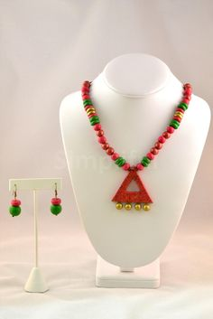 Terracotta Fresh Fuchsia and Green Necklace and Earring set
