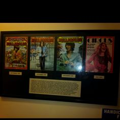Magazine covers on the wall at Canters