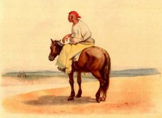 Taras Shevchenko. Kazakh riding. Watercolour (20,7 × 28 cm). [1848 – 1849]. Taras Shevchenko National Museum, inv. g – 879.