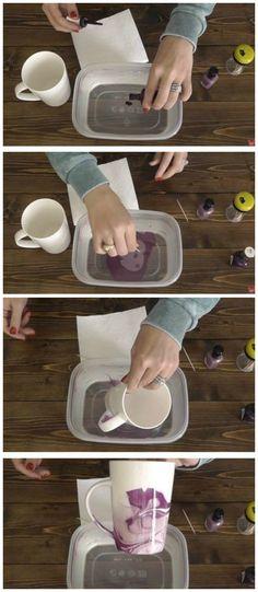 Décoration d'un mug avec du vernis à ongles