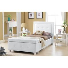 Found it at Wayfair - Twin Panel Bed with Storage Twin Storage Bed, Platform Bed With Storage, Twin Platform Bed, Upholstered Platform Bed, Headboard Benches, Kids Bedroom Furniture, Bedroom Ideas, Built In Bench, Houses