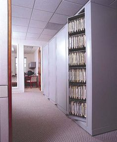 Hanging File Rotary Storage provides file storage in any office environment. Multiple rotary cabinets can easily organize thousands of patient or client files with secured access. Hanging file folder storage in a rotary cabinet can offer dual access.