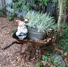 My succulent and gnome fit in my trough and wheelbarrow. Wheelbarrow, Reuse, Repurposed, Succulents, Recycling, Diy Projects, Yard, Outdoors, Cool Stuff