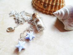 FREE SHIPPING! Silver glass bottle necklace with starfish and sea shells, Selma Dreams, blue or red, message in a bottle, gift by SelmaDreams on Etsy