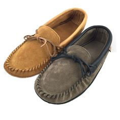 Men's Soft-Sole Suede Moccasins with Leather Trim