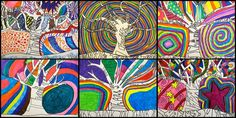 Thank you trees in different languages - 5th grade post-modern art.