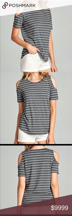 New Item Just In Grey and White Stripes Top Grey and White Stripped Cold Shoulder Tee Shirt Top Various sizes Tops Tees - Short Sleeve