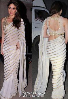 Kareena Kapoor Off White Saree Mb-503-Sarees-Crazy Sale http://www.craftsvilla.com/sarees-sari.html