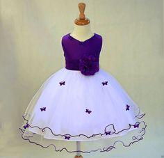 Ivory Purple Flower Girl butterflies tulle dress tie sash pageant wedding bridal recital children toddler size 12-18m 2 4 6 8 10  #801s